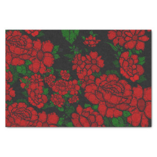 Bright Red Floral Abstract Tissue Paper