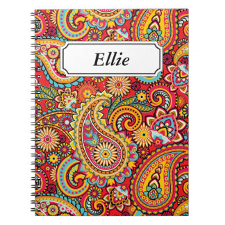 Bright Red Floral paisley seamless pattern Notebook