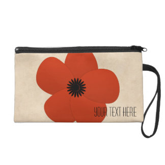 Bright Red Flower Holiday Season Gift Wristlet Clutch