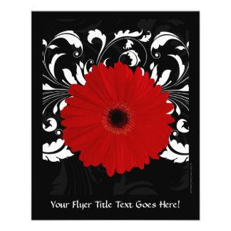 Bright Red Gerbera Daisy on Black 11.5 Cm X 14 Cm Flyer