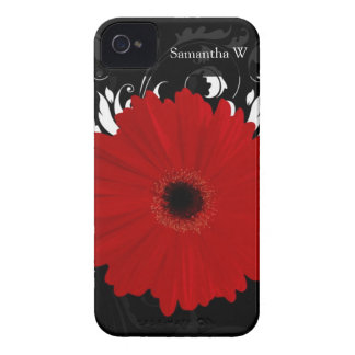 Bright Red Gerbera Daisy on Black Case-Mate iPhone 4 Cases