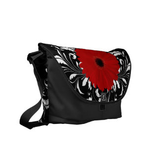 Bright Red Gerbera Daisy on Black Courier Bag