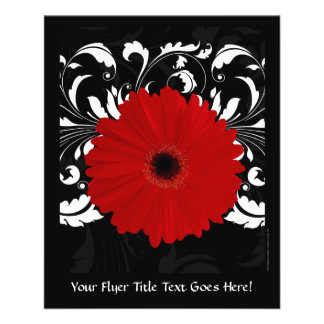 Bright Red Gerbera Daisy on Black Personalized Flyer