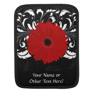 Bright Red Gerbera Daisy on Black iPad Sleeve