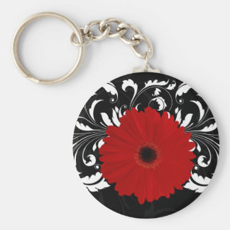 Bright Red Gerbera Daisy on Black Key Ring