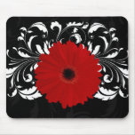 Bright Red Gerbera Daisy on Black Mousepad