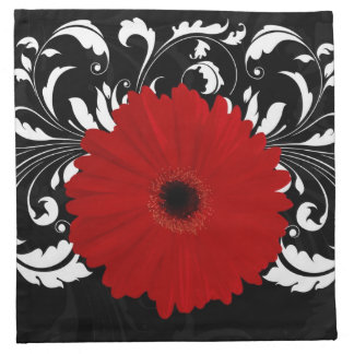 Bright Red Gerbera Daisy on Black Napkin