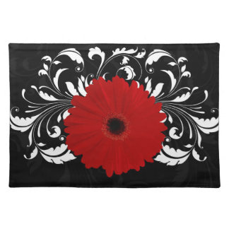 Bright Red Gerbera Daisy on Black Place Mat