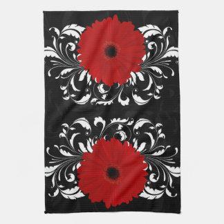 Bright Red Gerbera Daisy on Black Tea Towel