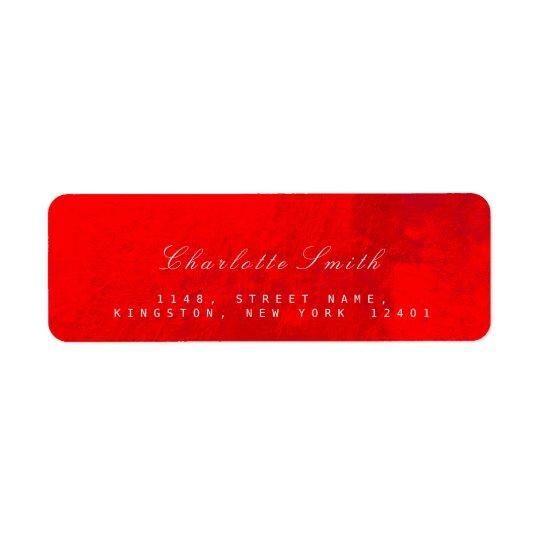 Bright Red Glass Metal Return Address Labels