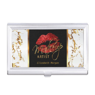 Bright Red Glitter Lips on Gold & White Marble Business Card Holder