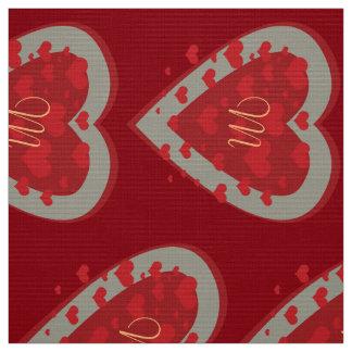 Bright Red Grey Heart Monogram Fabric