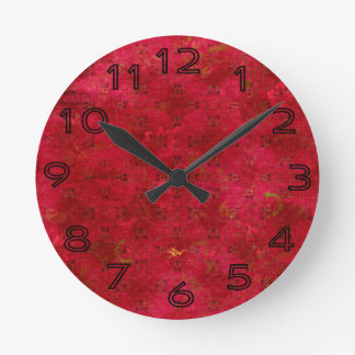 Bright Red Grungy Pattern Clock