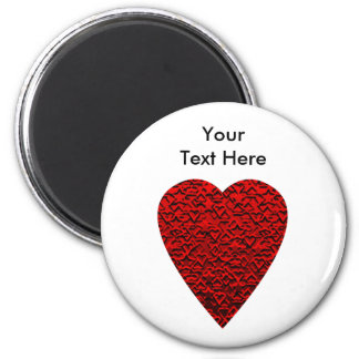 Bright Red Heart Picture. 6 Cm Round Magnet