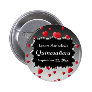 Bright Red Hearts Pattern Quinceanera Pinback Buttons