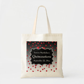 Bright Red Hearts Pattern Quinceanera Budget Tote Bag