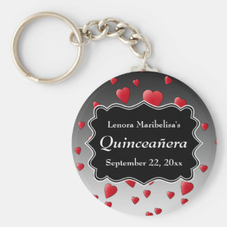 Bright Red Hearts Pattern Quinceanera Keychain