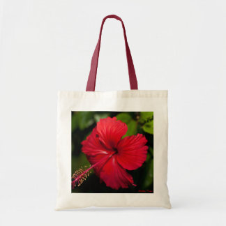Bright Red Hibiscus Tote Bag