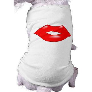 Bright Red, Kiss Lips Pet Shirt