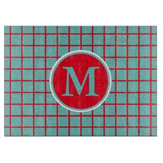 Bright Red Lattice Stripes on Light Teal Monogram Cutting Board