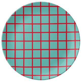 Bright Red Lattice Stripes on Light Teal Porcelain Plate