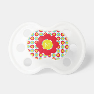 Bright Red Light Teal and Yellow Flower Monogram Dummy
