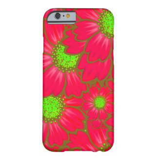 Bright Red Lime Green Daisy Flowers Floral Pattern Barely There iPhone 6 Case
