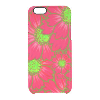 Bright Red Lime Green Daisy Flowers Floral Pattern Clear iPhone 6/6S Case