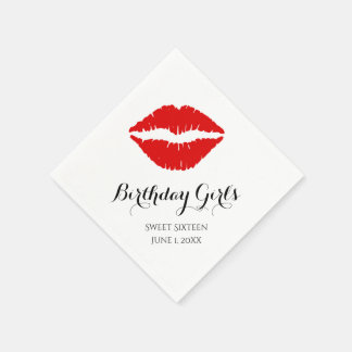 Bright Red Lipstick Sweet Sixteen Birthday Party Disposable Napkin