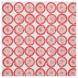 Bright red log slices fabric