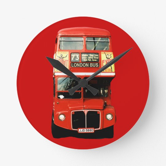 Bright Red London Bus Clock