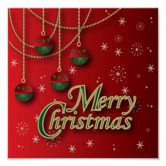 Bright Red Merry Christmas Poster