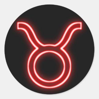 Bright Red Neon - Taurus the Bull Star Sign Classic Round Sticker