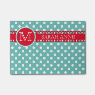 Bright Red on Light Teal Polka Dot Monogram Post-it Notes