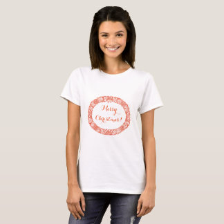Bright Red on White Christmas Wreath to Customize T-Shirt