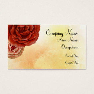 Bright Red Orange and Yellow Floral Business Cards