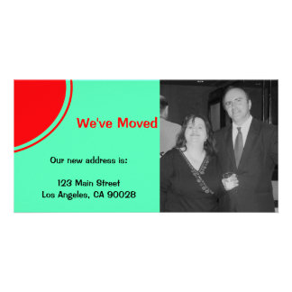 Bright red orange green Moving Announcement Card