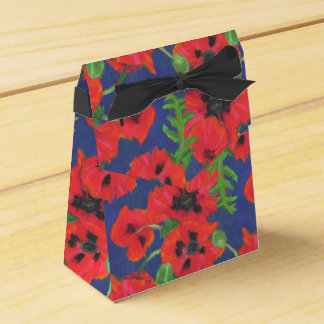 Bright Red Oriental Poppies Pattern on Blue Favour Box