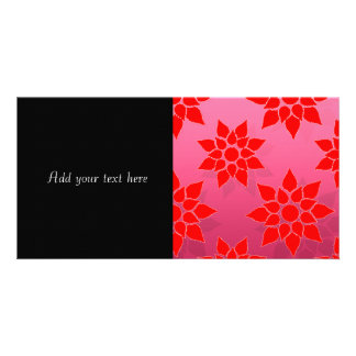 Bright Red over Deep Pink Floral Design Picture Card
