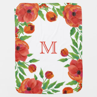 Bright Red Peonies | Flower Leaves Monogram Baby Blanket