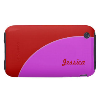 Bright Red Pink Mod Retro Tough iPhone 3 Case