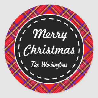 Bright Red Plaid Christmas Stickers