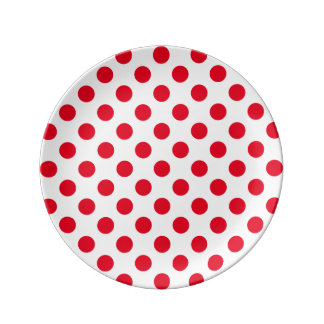 Bright Red Polka Dot Plate