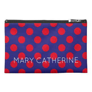 Bright Red Polka Dots on Deep Blue Personalized Travel Accessories Bags