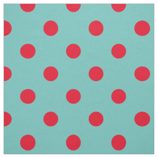 Bright Red Polka Dots on Light Teal Fabric