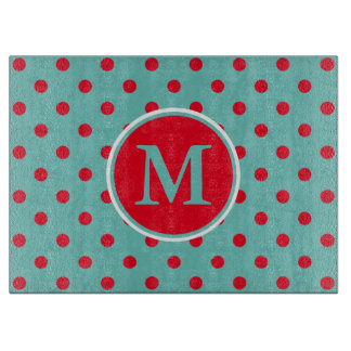 Bright Red Polka Dots on Light Teal Monogram Cutting Board