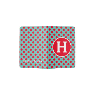 Bright Red Polka Dots on Light Teal Monogram Passport Holder