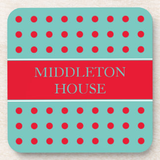 Bright Red Polka Dots on Light Teal Personalized Coaster