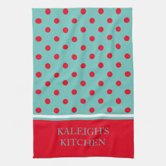 Bright Red Polka Dots on Light Teal Personalized Tea Towel