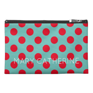 Bright Red Polka Dots on Light Teal Personalized Travel Accessories Bag